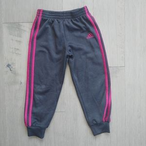Adidas Track Pants, Black with Pink Stripes